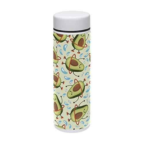 ZZKKO - Botella de Agua de Acero Inoxidable con diseño de Emoji Aguacate de Doble Pared aislada al vacío