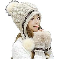 Stillshine Sombrero de Punto Dama, Orejeras de Pompones Grandes de Invierno Tejer Gorro Medio Dedo Guante, Gorro de Lana de Punto de Esquí de Mujer Forro Grueso Gorra de Nieve (Beige)