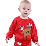 Happy Event Christmas Xmas Weihnachten Kleinkind Baby Brief Print Cartoon Deer 3D Nase Tops Pullover Outfits (24 Months-100)