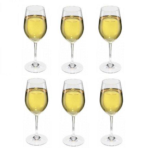 Viva Haushaltswaren - 6 x bruchfestes Weißweinglas 250 ml aus hochwertigem Kunststoff, edles Weingläser Set für Outdoor-Aktivitäten etc. (wie echtes Glas)