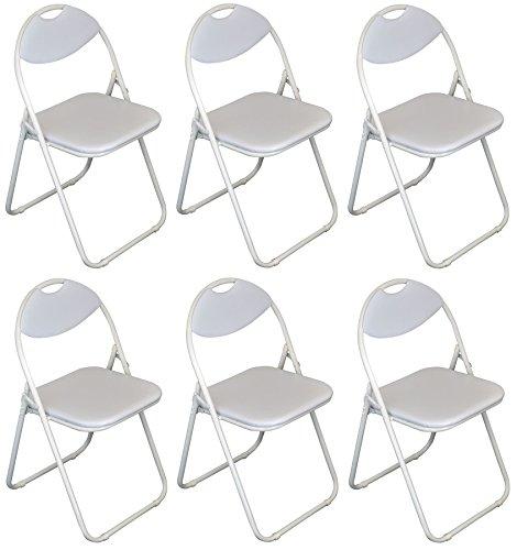 Chaise de bureau rembourrée blanche et pliable de Harbour Housewares / Armature blanche - Boîte de 6