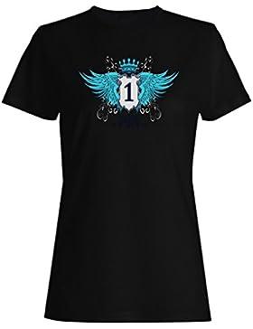 Escudo con alas con corona divertida novedad camiseta de las mujeres hh70f