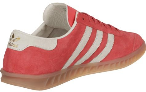 adidas Hamburg Sneaker Turnschuhe Schuhe Unisex Rot (Shock Red/Off White/Gum)