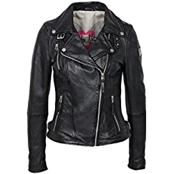 Freaky Nation Biker Princess Chaqueta, Negro (Shadow 9015), X-Small para Mujer