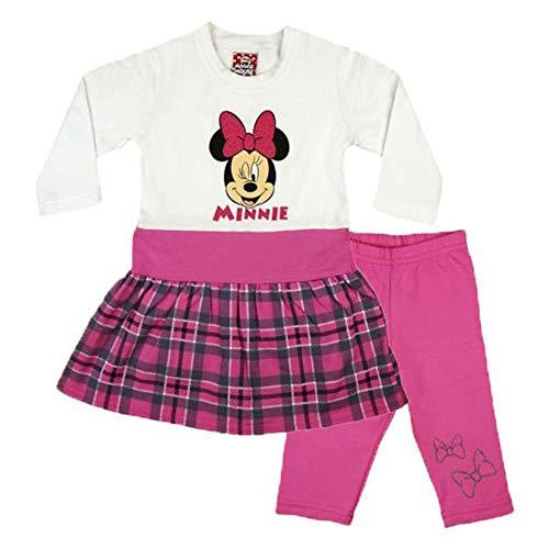 Minnie Mouse Mädchen Baby Kleid Set Thermo-Leggings Warme Hose und Warmes Kleid Baumwolle in 3 Farben Outfit Gr 80 86 92 98 104 110 116 122 auch für Winter ideales Geschenk Farbe Weiss, Größe 86