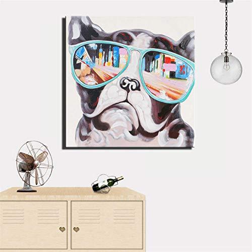 Cyalla Pop Dog Wandposter, gerahmt, abstrakt, bunte Hunde, 70 x 70 cm -