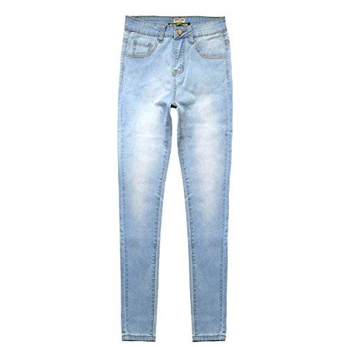 Frauen Slim Fit Bleistift Hose Hohe Taille Stretch Jeans Tie-Dye Hosen,LightBlue-38 (Tie-dye-stretch-denim)