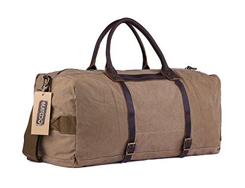 Gootium Vintage Canvas Reisetasche Segeltuch Leder Unisex Handgepäck Sporttasche, 45 Liter Grau Kaffee