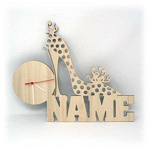 Holz Wand Uhr Schuhe Deko Geschenk mit Name lustige witzige Geschenkidee individuell für Freundin Frau Damen Schuhverkäuferin Schuhgeschäft personalisiert - Wand-uhr Personalisierte