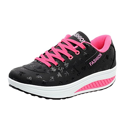 Qianle Women's Running Trainers Ladies Sports Shoes Lace Up Athletic Gym ShoesUK5