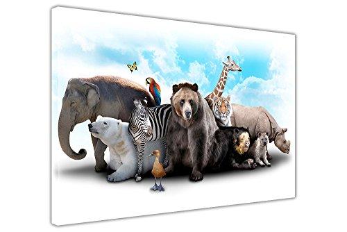 Wildtiere Collage auf Leinwand gerahmt Wand Art Prints Home Deco Bilder Wildlife Poster Modern 02- A3 – 16″ X 12″ (40CM X 30CM)