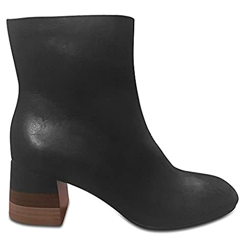 Marks & Spencer AUTOGRAPH T022805 Wooden Block Heel Leather Ankle Boot RRP £79 - Black - UK 7.5
