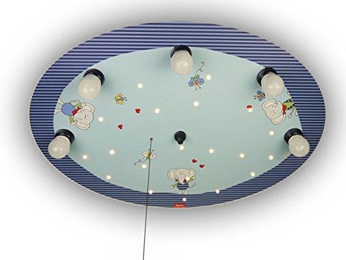Niños-Lámpara de techo LED con elefantes multicolores, interruptor de cordón para función...