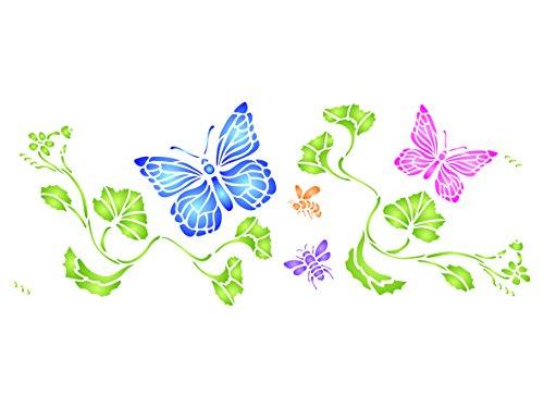 Schmetterling Grenze Schablone-42x 16,5cm-wiederverwendbar Schmetterlinge Bienen Insekten Wand Schablone-Vorlage, auf Papier Projekte Scrapbook Tagebuch Wände Böden Stoff Möbel Glas Holz usw.