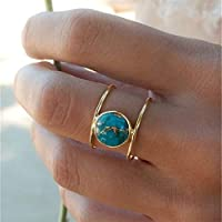 Faliya Vintage Round Cut Turquoise Ring Jewelry Birthday Anniversary Gift Princess Party Engagement Wedding Band Rings,8#