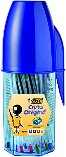 Bic Cristal – Bolígrafos, 20 unidades, diseño con estuche en forma de bolígrafo Bic,colores surtidos