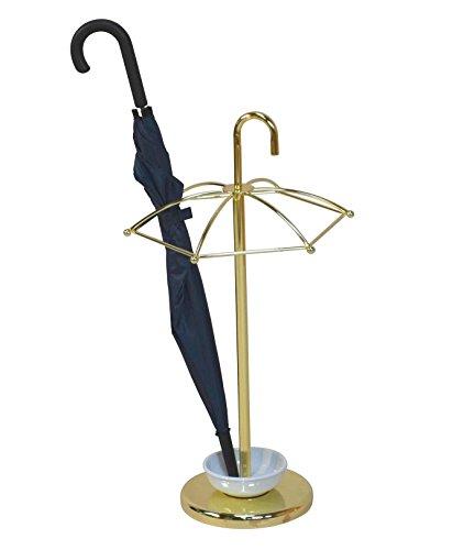 Schirmständer H17, Schirmhalter Regenschirmständer, mit Wasserauffangschale ~ Messing-Optik (Messing-schirmständer)