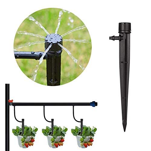 micro flusso regolabile irrigatore a goccia, sistema di irrigazione da giardino con testine di irrigazione a goccia, raccordo a goccia, 50 pezzi per fiori di verdure