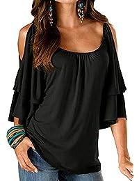 Amazon Cuello Blusas Mujer Barco Camisetas es De qxvH0qF