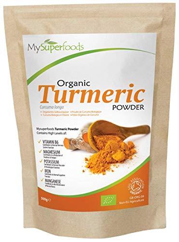 Polvo Orgánico de Cúrcuma (500g) / MySuperFoods/Alta concentración de Vitamina C, Calcio, Magnesio, Potasio/Perfecto para Arroz y Curry/Certificado como producto orgánico por el Soil Association
