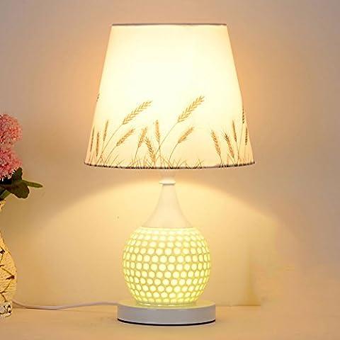 LBC Mode Pastoral Druck Tuch Schreibtisch Lampe Hollow Porzellan Schlafzimmer Nachttisch Lampe Wohnzimmer Beleuchtung E27 * 1 ( Color : B (Porzellan Stoff)