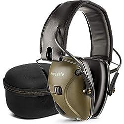Awesafe GF01+ Réduction du Bruit Maximiser Le Son Sécurité électronique Casque antibruit, Protection de l'ouïe, NRR 22 DB, Idéal pour Le tir et la Chasse, livré avec Un étui de Transport