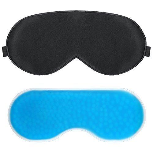 PLEMO Antifaz con Gel de Perlas Oculares Compresa Frío- Calor 100% Bloquea la Luz Perfecto para Antifatiga y Antiojeras 2...