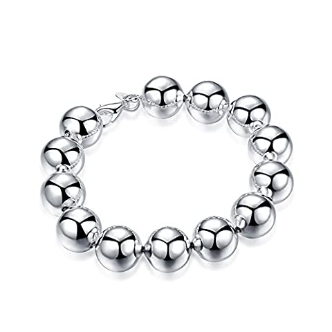 Bodya Plaqué argent 14mm Large Perles rondes Perles Boule Link pour mariage Bracelet 20,3cm