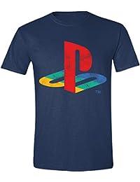 Camiseta de hombre de PlayStation logo difuminado algodón azul