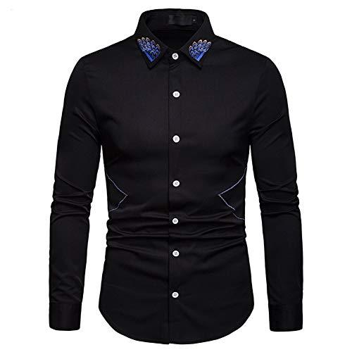 Versaces Männer Mode Baumwolle Shirt Ausschnittstickerei Volltonfarbe Lange Ärmel Shirt,Black,S
