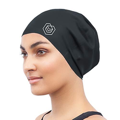 SOUL CAP - Badekappe/Schwimmkappe/Bademütze/Duschhaube für langes Haar | für langes, Dickes oder lockiges Haar | für Erwachsene, Jugendliche und Kinder | Silikon (Schwarz)