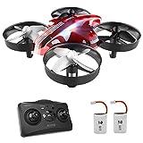 ATOYX Mini Drone, AT-66 RC Drone Niños 3D Flips, Modo sin Cabeza, Estabilización de Altitud, 3 Modos de Velocidad, 4 Canales 6-Ejes, 2 Baterías, Regalo para Niños y Principiantes, Rojo