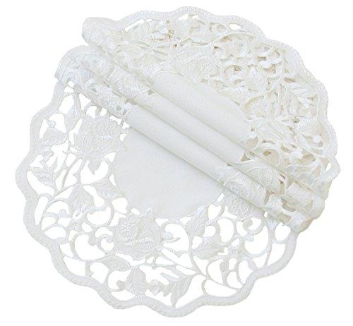 Xia Home Fashions Somerset Cutwork Blumenmuster bestickt Deckchen, weiß, 12-Inch Round (Elfenbein Deckchen)