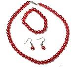 RED CLASSIC FAUX PEARL NECKLACE EARRINGS & BRACELET JEWELLERY SET VINTAGE