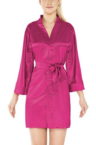 m.Lyra Damen Nachtwäsche Morgenmantel aus Satin Liv (XS - 2XL) Pink