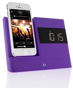 KitSound XDOCK 2 Radio Réveil avec Station d'Accueil et Connecteur Lightning pour iPhone 5/ iPhone SE/iPod Nano 7/iPod Touch 5 - Livré avec Prise UK - Violet