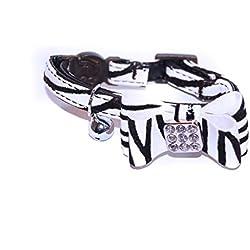 """Pet Palace® """"Cuaderno de gato cuello blanco y negro gato suave de terciopelo con lazo y Bell Plus gratis Cute Catnip Juguete."""