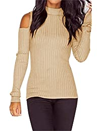 Femmes à manches longues Slim Knitted Pullover chandail Blouse Tops