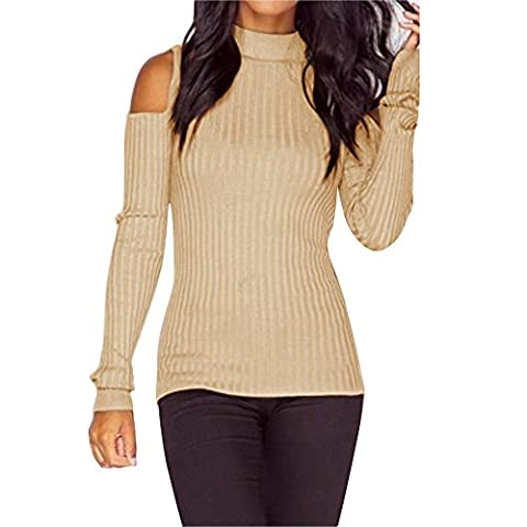Femmes à manches longues Slim Knitted Pullover chandail Blouse Tops (Size:Large, Beige)