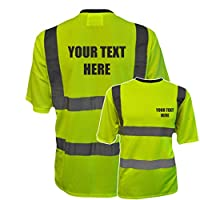 Personalised Custom Printed Yellow Hi Vis T-Shirt Reflective Safety Vest Waistcoat, Conforms to EN20471 Class 2, High Visibility, By Brook Hi Vis, Medium