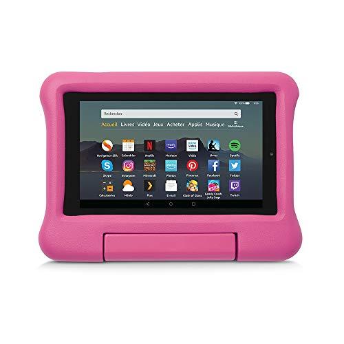 Coque spéciale enfants pour tablette Fire 7 (compatible avec les appareils de 9ème génération, modèle 2019), Rose