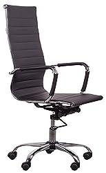 Roomox Design Flex360 High Back, ergonomisch, dreh-und neigbar, Höhenverstellung Bürostuhl, Lederimitat, Schwarz, 50x70x114 cm