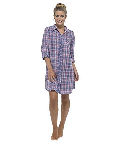 womens-ladies-nightwear-sleepwear-check-button-through-nightshirt-with-top-pocket-pink-16-18