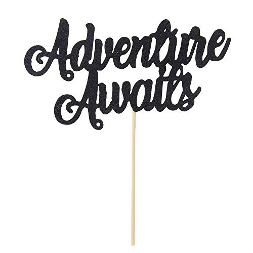 Blcak Glitter Adventure Awaits Tortenaufsatz 2019 Graduation Congrats Grad Party Dekorationen Supplies High School Graduation College Graduate Cake Topper