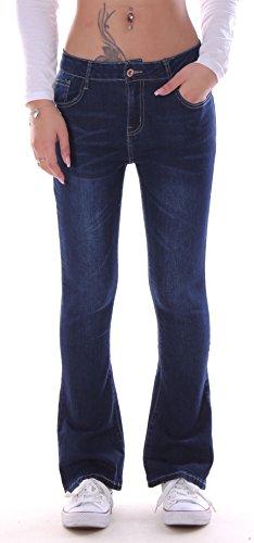 Damen Bootcut Jeans, Schlagjeans, Schlag Hose Hüftjeans blau Damenjeans Damenhose Bootcutjeans Bootcuthose Schlaghose Weites Bein Hüfthose Hüft Hüftig Low Rise Denim Dunkelblau Size Gr Größe L 40