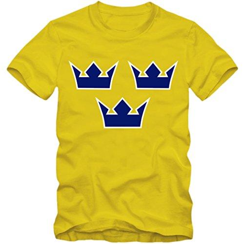 Herren T-Shirt Sverige Schweden Eishockey Icehockey Tre Kronor WM, Farbe:gelb;Größe:XXL