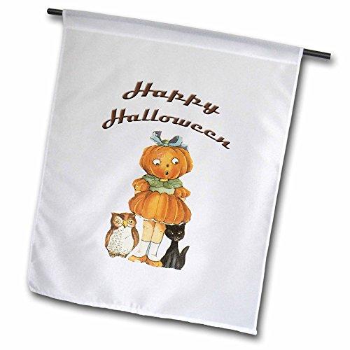 _ 1Vintage Halloween kleine süße Jack O Laterne Mädchen, mit eine schwarze Katze und ein Eule Garten Flagge, 12von 18 (Vintage Halloween-jack O Laternen)