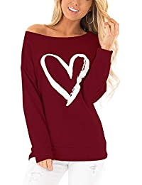 Blooming Jelly Womens Long Sleeve T Shirt Off The Shoulder Tops Casual Pullover Heart Print Tee