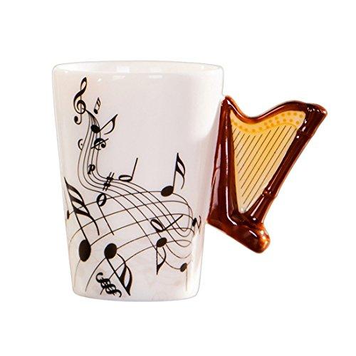 SODIAL Kreative Neuheit Harfe Griff Keramik Tasse frei Spektrum Kaffee Milch Tee Tasse Persoenlichkeit Becher Einzigartige Musikinstrument Geschenk Tasse