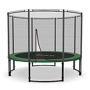 Ampel 24 Deluxe Outdoor Trampolin 305 cm komplett mit Außennetz, Belastbarkeit 150 kg, Sicherheitsnetz mit Stabilitätsring und 8 gepolsterten Stangen